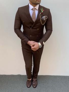 Slim Fit Kruaveze Spor Takım Elbise Kahve