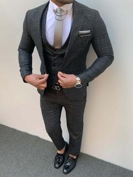 Slim Fit Yağmur Dese İtalyan Kesim Pamuk Spor Takım Elbise Antresit
