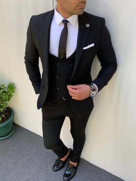 Slim Fit İtalyan Kesim Pamuk Spor Takım Elbise Siyah