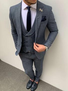 Slim Fit İtalyan Kesim Piti Kare Takım Elbise Mavi