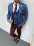 Slim Fit İtalyan Kesim Hasır Örme Pamuk Spor Ceket Yelek Saks Mavi