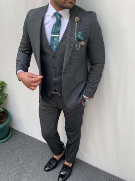 Slim Fit İtalyan Kesim Pamuk Spor Takım Elbise Antrasit