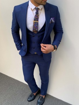 Slim Fit İtalyan Kesim Örme Pamuk Spor Takım Elbise Parlıament Mavi