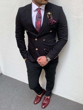 Slim Fit İtalyan Kesim Kruaveze Metal Düğme Pamuk Spor Ceket Siyah