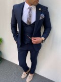 Slim Fit İtalyan Kesim Pamuk Spor Takım Elbise Saks Mavisi