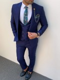 talyan Kesim Pamuk Spor Takım Elbise Saks Mavi