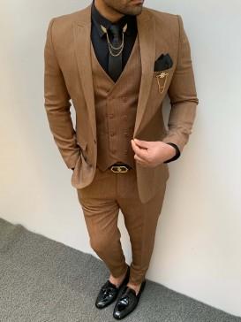 Slim Fit İtalyan Kesim Pamuk Spor Takım Elbise Kahverengi