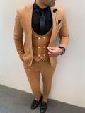 Slim Fit İtalyan Kesim Pamuk Spor Takım Elbise Hardal