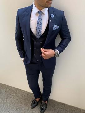 Slim Fit İtalyan Kesim Pamuk Spor Takım Elbise Lacivert