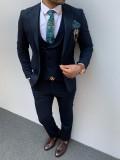 İtalyan Kesim İnce Cizgi Pamuk Spor Takım Elbise Lacivert