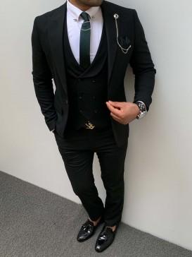 İtalyan Kesim İnce Cizgi Pamuk Spor Takım Elbise Siyah