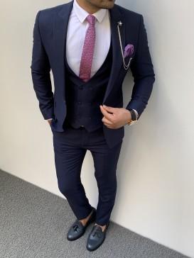İtalyan Kesim Pamuk Spor Takım Elbise Lacivert
