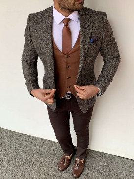 Slim Fit Hasır Örme Pamuk Spor Ceket Yelek Kahverengi