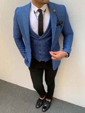 Slim Fit Pamuk Ceket Mavi