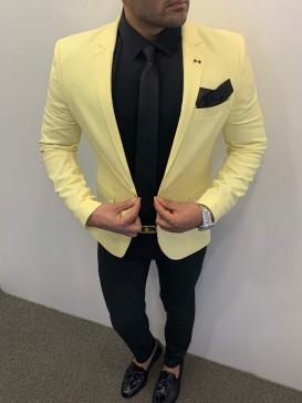 Slim Fit Spor Ceket Sarı