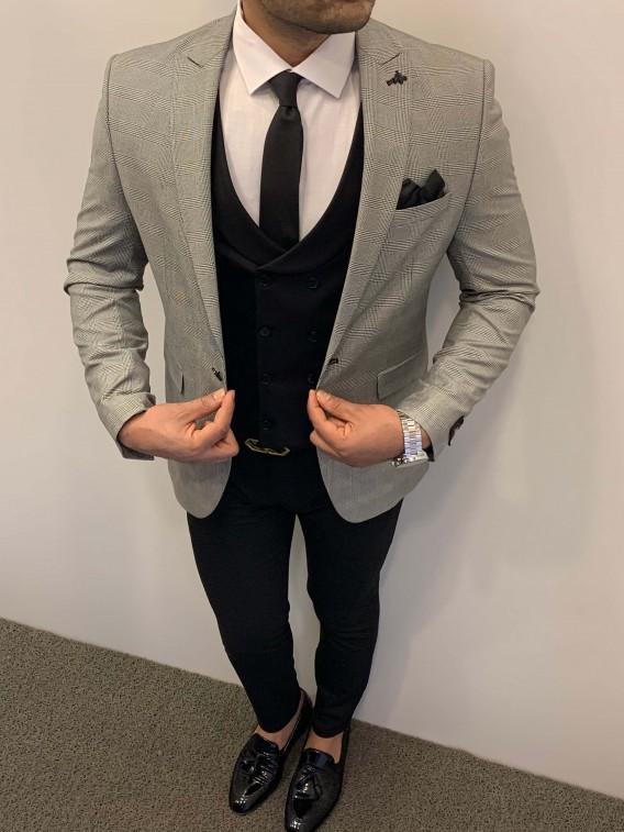 Slim Fit Ekose Pamuk Spor Takım Elbise Gri