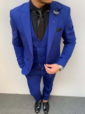 Slim Fit İtalyan Kesim Pamuk Spor Takım Elbise Saks Mavi