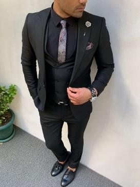 İtalyan Kesim İnce Örme Spor Takım Elbise Siyah