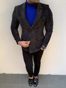 Slim Fit Kruaveze Kadife Ceket Siyah