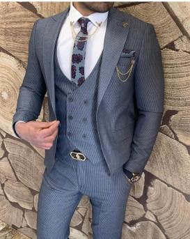 Slim Fit Pamuk Takım Elbise Mavi