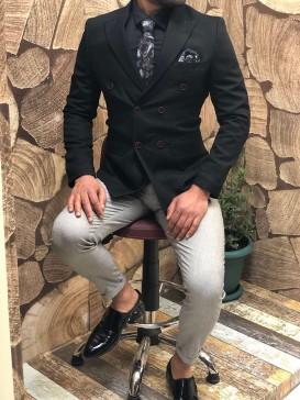 Slim Fit Kruaveze Ceket Kombini Siyah