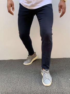 Slim Fit Likralı Krem Lacivert Pantolon