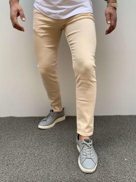 Slim Fit Likralı Açık Krem Kot Pantolon