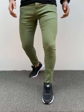 Slim Fit Likralı Haki Pantolon