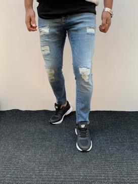 Slim Fit Likralı Yırtık Model Kot Pantolon