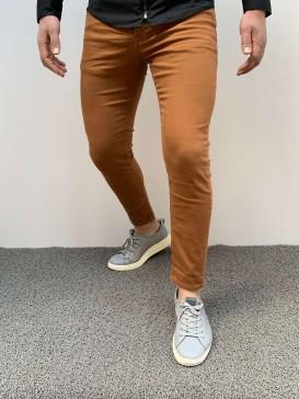 Slim Fit Likaralı Hardal Kot Pantolon
