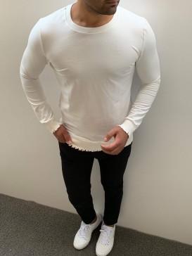 Slim Fit Pamuk Kol Ve Etek Detaylı Beyaz Sweat