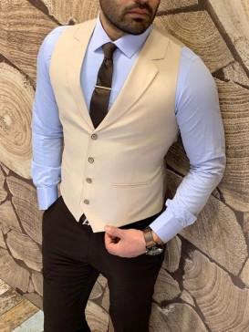 Slim Fit Örme Ceket Yaka Krem Yelek