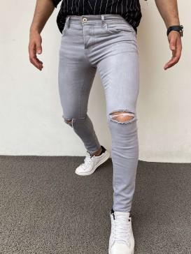 Slim Fit Kot Pantolon Acık Gri