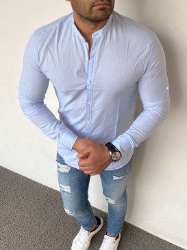 Slim Fit Hakim Yaka Gömlek Buz Mavi