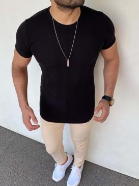 Slim Fit Triko Tshirt Siyah