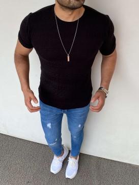 Slim Fit Triko Kumaş Desenli Siyah Tshırt