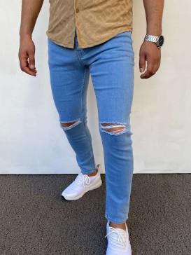 Slim Fit Diz Yırtık Model Buz Mavisi Kot Pantolon