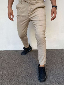 Slim Fit İtalyan Kesim Krem Jagger Pantolon