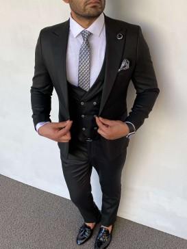 Slim Fit İtalyan Kesim Siyah Takım Elbise