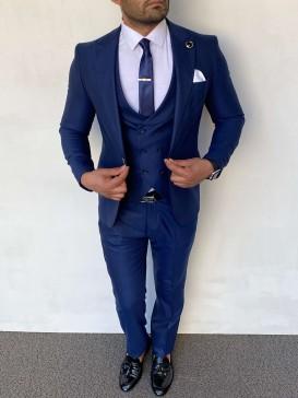 Slim Fit İtalyan Kesim Düz Model İndigo Takım Elbise