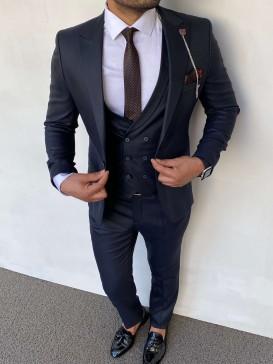 Slim Fit İtalyan Kesim Pamuk Spor Koyu Lacivert Takım Elbise