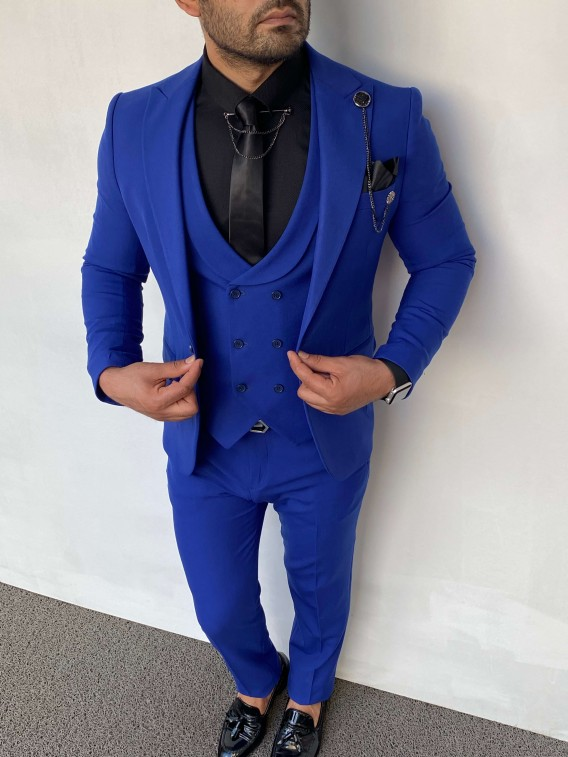 Slim Fit İtalyan Kesim Pamuk Saks Mavisi Takım Elbise