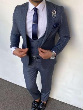 Slim Fit İtalyan Kesim Örgü Desen Buz Mavisi Takım Elbise