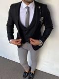Slim Fit İtalyan Kesim Örme Siyah Ceket Yelek