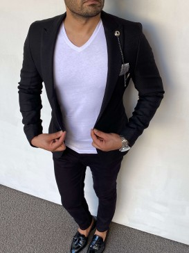Slim Fit İtalyan Kesim Örme Siyah Ceket