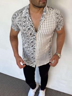 Slim Fit İtalyan Kesim Çift Desen Beyaz Gömlek