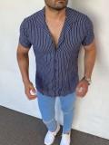 Slim Fit İtalyan Kesim Pamuk Çizgili Kısa Kollu Laci Gömlek