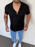Slim Fit İtalyan Kesim Hami Keten Siyah Gömlek