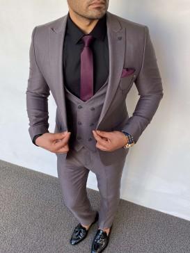 Slim Fit İtalyan Kesim Pamuk Örme Takım Elbise Antrasit