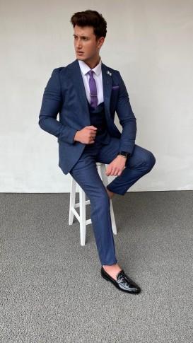 Slim Fit İtalyan Kesim Pamuk Spor Lacivert Takım Elbise